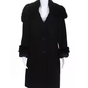 ***AVAILABLE*** BLack wool Rabbit fur coat size 10